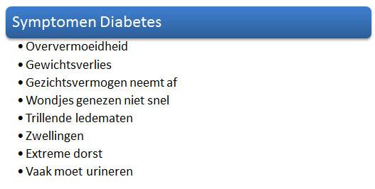 symptomen diabetes